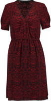 Marc by Marc Jacobs Lace-trimmed printed crepe mini dress