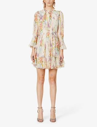 Floral print crepe mini dress