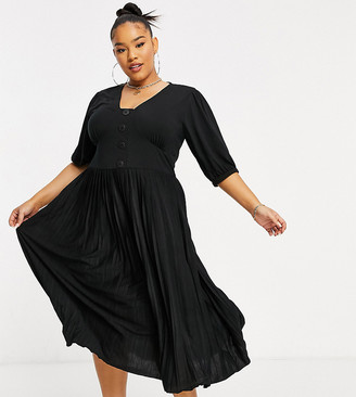 ASOS DESIGN Curve midi short sleeve pleated dress with button detail in black