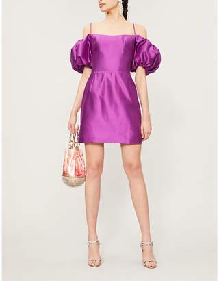 Rasario Off-the-shoulder silk-dupioni mini corset dress