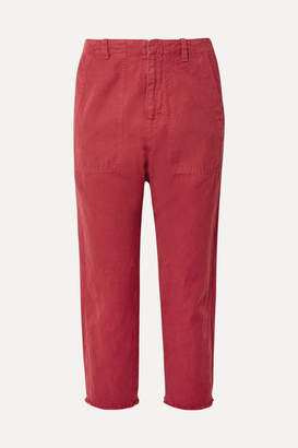 Nili Lotan Luna Cropped Cotton And Linen-blend Twill Pants - Red