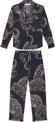 Desmond & Dempsey The Navy Jag Print Cotton Long Pajama Set