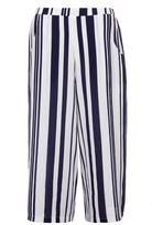 Quiz Navy and White Stripe Culotte Trousers