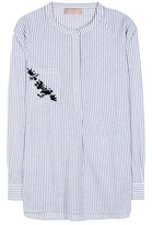 81 Hours 81hours Striped cotton and linen-blend top