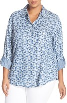 Foxcroft Plus Size Women's 'Sketched Daisy' Print Roll Sleeve Shirt