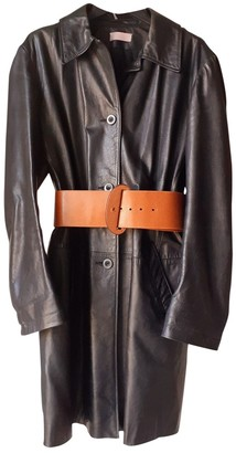 Nicole Farhi Black Leather Coat for Women