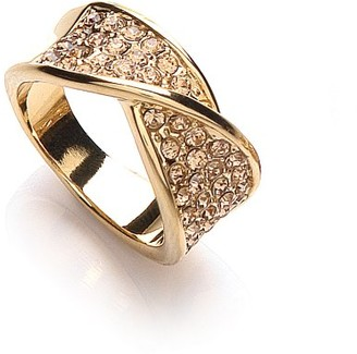 Buckley Gold Plated Crystal Twist Ring - Size Q