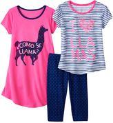 """Girls 4-16 SO® """"I Love Llamas"""" Pajama Set"""