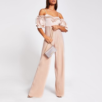 River Island Womens Pink short sleeve cold shoulder jumpsuit