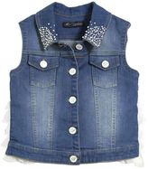 Blumarine Jeans Embellished Denim Vest With Ruffles