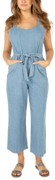 Rewash Juniors' Belted Denim Jumpsuit