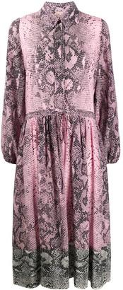 No.21 Silk Snakeskin Print Shirt Dress