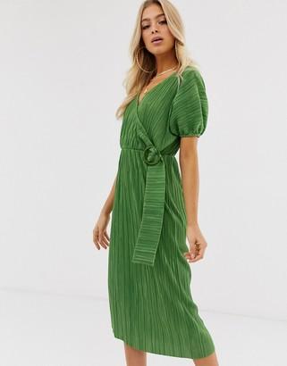 Asos DESIGN midi plisse tea dress with resin buckle