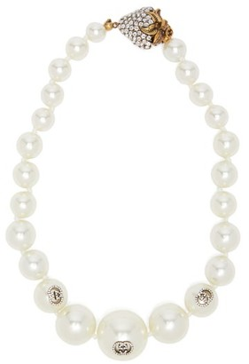 Gucci Crystal-embellished Faux-pearl Necklace - Womens - Pearl