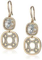 """Rebecca Seventies"""" Yellow Gold with White Swarovski Crystals Earrings"""
