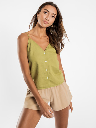Nude Lucy Mina Linen Cami in Moss Green