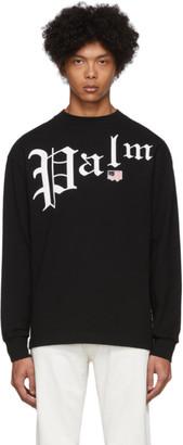 Palm Angels Black New Gothic Long Sleeve T-Shirt