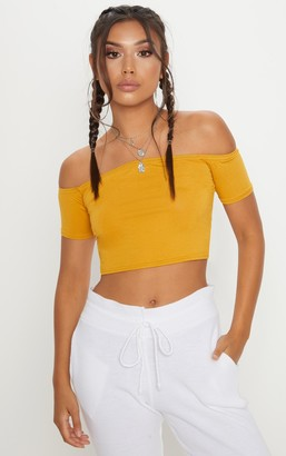 Bardot Fash Basic Mustard Crop Top
