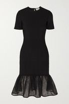 Alexander McQueen Tiered Lace-trimmed Knitted Dress - Black
