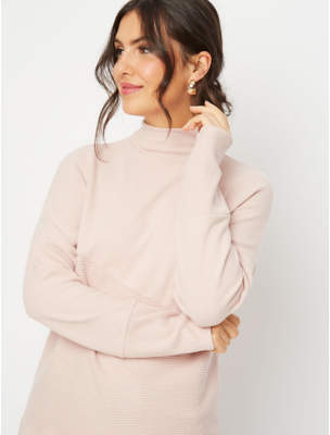 George Pale Pink Funnel Neck Soft Touch Jumper