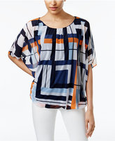 Alfani Petite Printed Bubble Top, Only at Macy's
