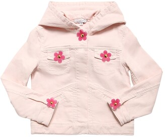 Little Marc Jacobs Stretch Cotton Denim Jacket W/ Daisies