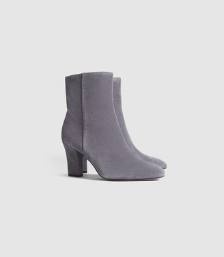 Reiss Ruby Suede - Suede Ankle Boots in Pale Grey