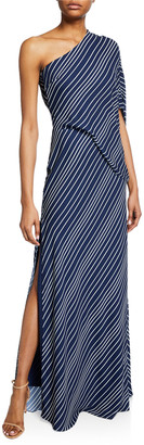 Halston Asymmetric-Sleeve Striped Gown