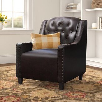 "Three Posts Barnard 29.53"" W Tufted Faux Leather Club Chair Fabric: Espresso Brown Faux Leather"