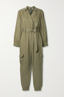 Alice + Olivia Bessie Tencel Lyocell, Linen And Cotton-blend Twill Jumpsuit - Army green