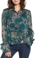 BP Sheer Metallic Floral Shirt