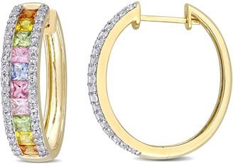 14K 5.70 cttw Colors of Sapphire Hoop Earrings