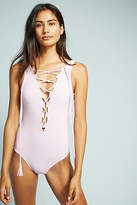 Karla Colletto Plunge Lace-Up One-Piece Swimsuit