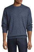 Brunello Cucinelli Fine-Gauge Crewneck Sweater, Indigo