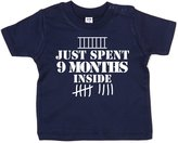 Dirty Fingers, Just spent 9 months inside, Baby Girl T-shirt, 0-6m, Navy