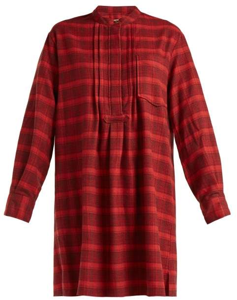 Etoile Isabel Marant Dancy Checked Cotton Dress - Womens - Red