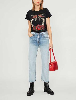 Pinko Fiasco bird and rose-print cotton-jersey T-shirt