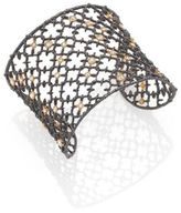 Alexis Bittar Elements Muse D'Ore Crystal Two-Tone Studded Lace Cuff Bracelet