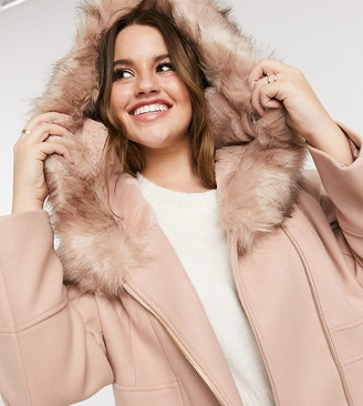 Forever New Curve hooded faux fur coat in oatmeal