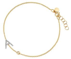 Zoe Lev 14K Yellow Gold Diamond Initial & Bezel Bracelet