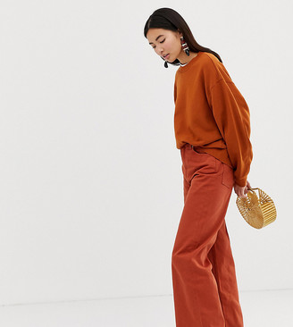 Weekday Ace organic cotton wide leg jeans in rust