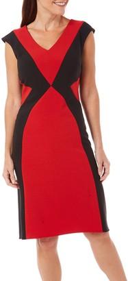 London Times Women's Cap Sleeve V Neck Crepe Fit & Flare Dress