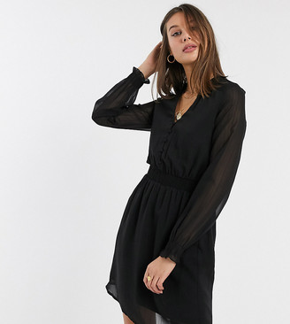 Vero Moda Tall chiffon shift dress with shirred waist in black