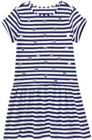Gymboree Navy & White Stripe Foil-Heart Drop-Waist Dress - Girls