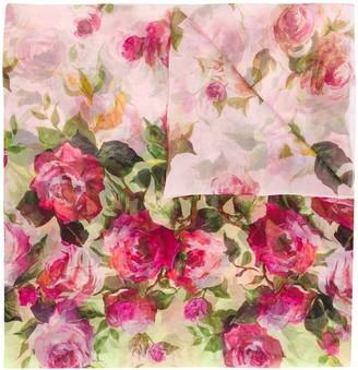 Blumarine Floral-Print Silk Scarf