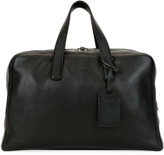 Giorgio Armani Men's Deer Leather Carryall Duffel Bag, Black