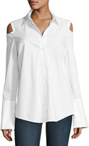 NYDJ Carlotta Cold-Shoulder Button-Front Blouse, White