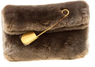 Burberry Light Grey Faux Fur Medium Pin Clutch