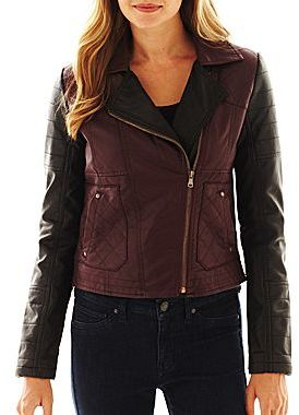 JCPenney Collection B. Two-Tone Faux-Leather Moto Jacket