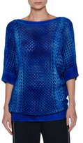 Agnona Tie-Dye Half-Sleeve Cashmere Tunic, Blue